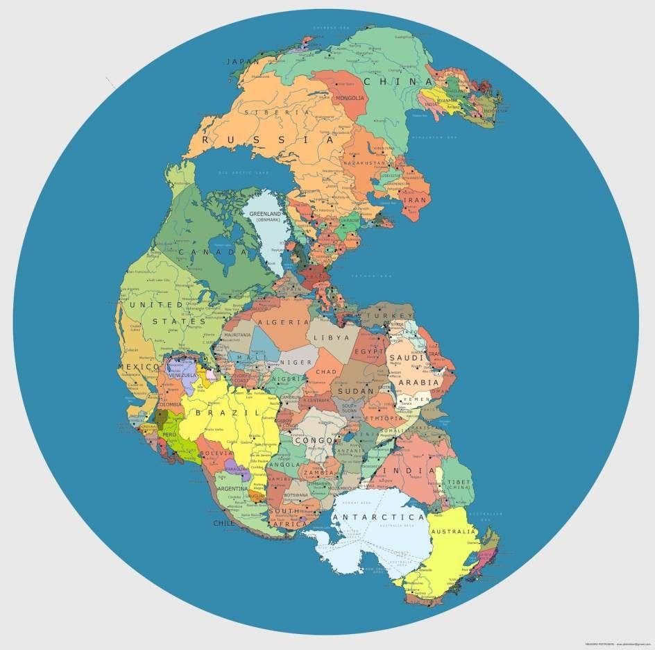 Un artista italiano mezcla el mapa de Pangea con el actual mapa