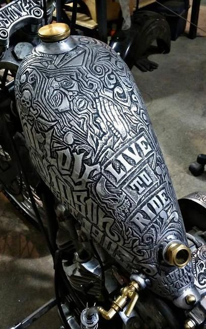 Hand Engraved Metal Motorcycle Gas Tank By Mistfit Skinny Kustoms