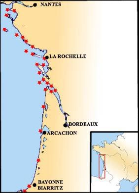 carte cote atlantique france Carte des phares de l'Océean Atlantique | Phare, Phares de france