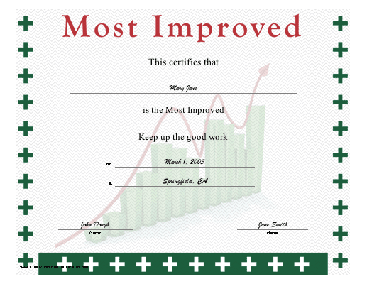 A certificate for the workplace recognizing improvement. Shows a bar ...