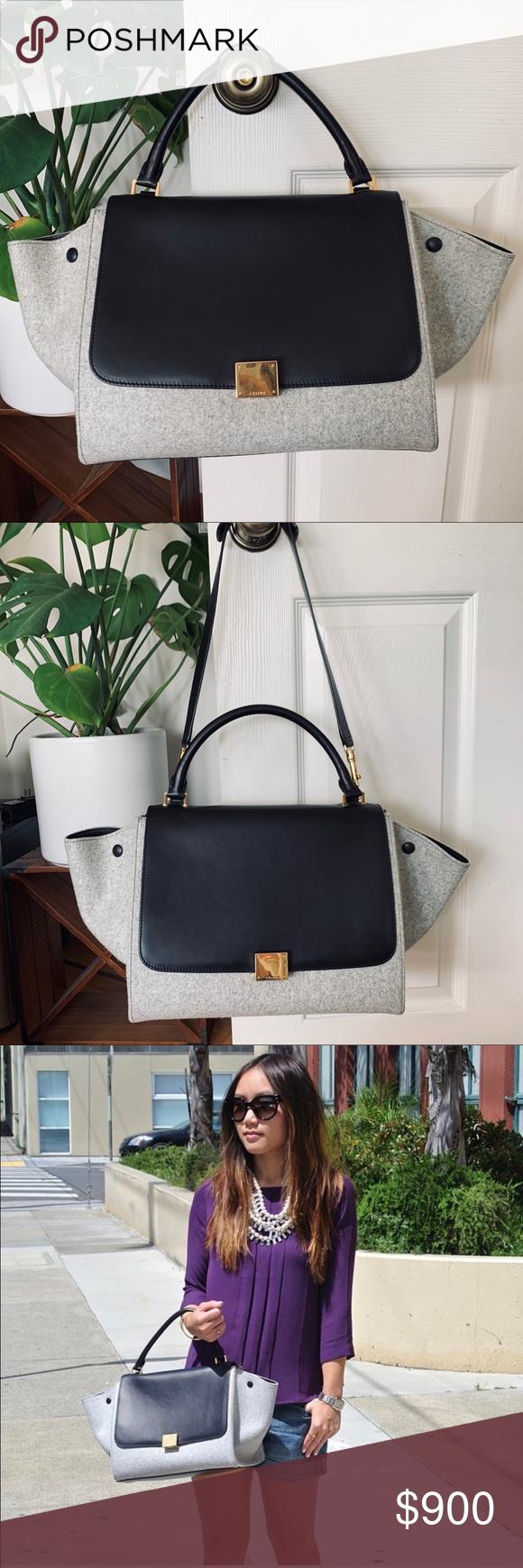 Celine Medium Trapeze Bag black and light gray This