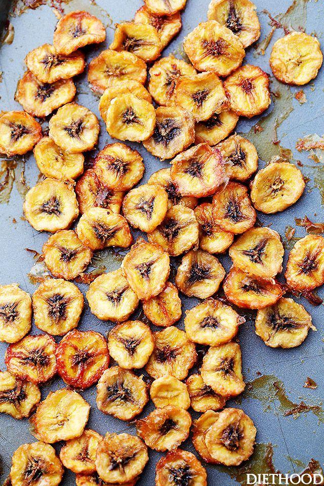 Homemade Baked Banana Chips Recipe Diethood Gesunde Snacks Rezepte Essen
