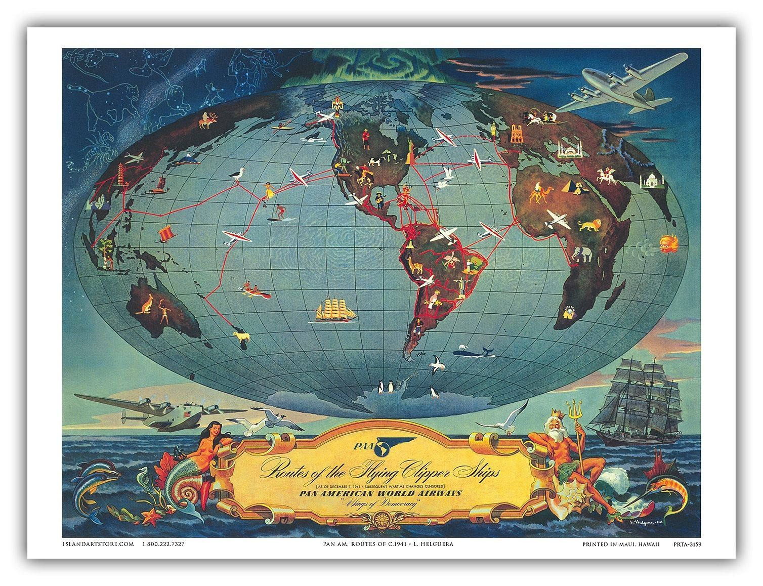Details about World Map Globe Flying Routes Vintage