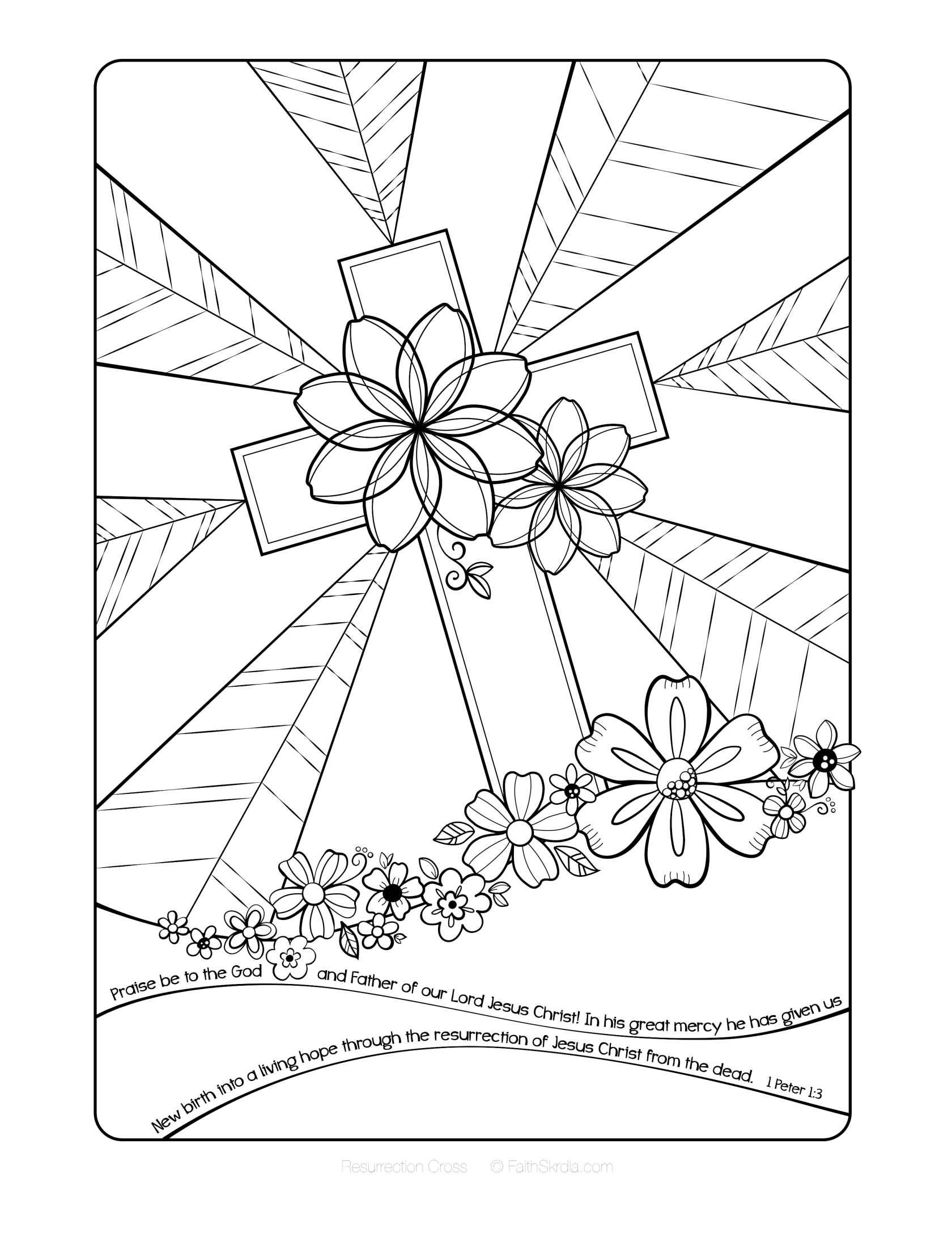 Free Easter Adult Coloring Page By Faith Skrdla Resurrection Cross 1 Peter 13 Bible Verse Christian For Adults And Grown Up Kids