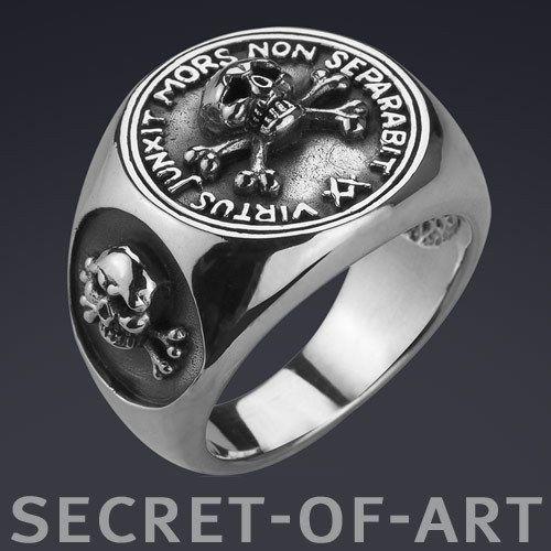 Masonic Freimaurer Skull And Bones Silver 925 Ring Masonic Vintage