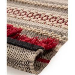 Photo of benuta Wollteppich Tolga Grau/Rot 120×170 cm – Naturfaserteppich aus Wolle benuta