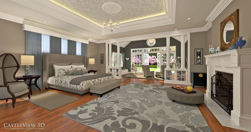 Luxurious, serene bedroom/sitting room, designed and rendered by CastleView 3D.