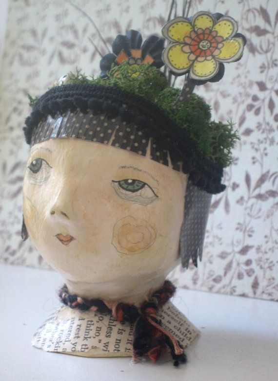 Flora  Art Doll Bust by LittleSageCreations on Etsy, $40.00  Little sentences for eyebrows? Why of course! A story teller doll who could truly tell a story...