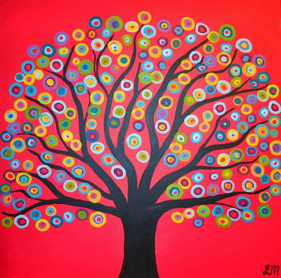 Really cool circle tree abstract painting large class version