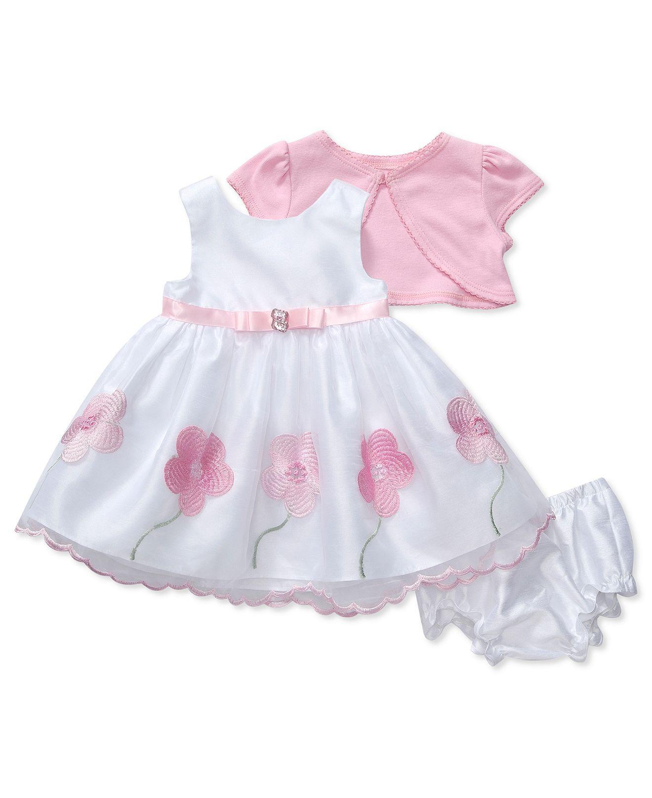 Sweet Heart Rose Baby Dress, Baby Girls Flower Applique Dress ...