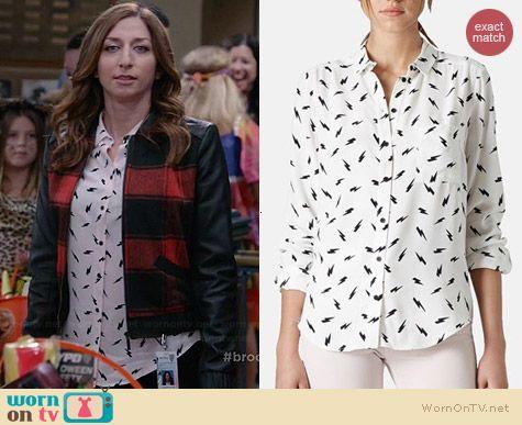 Gina's lightning bolt print shirt on Brooklyn Nine-Nine.  Outfit Details: http://wornontv.net/38634/ #Brooklyn99