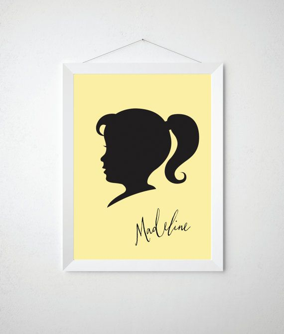 Child Silhouette Cameo Print Personalized Name Childrens Nursery ...