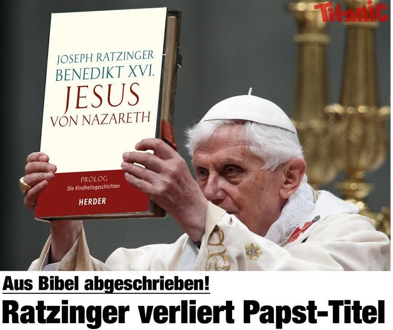 Aus Bibel abgeschrieben! Ratzinger verliert Papst Titel