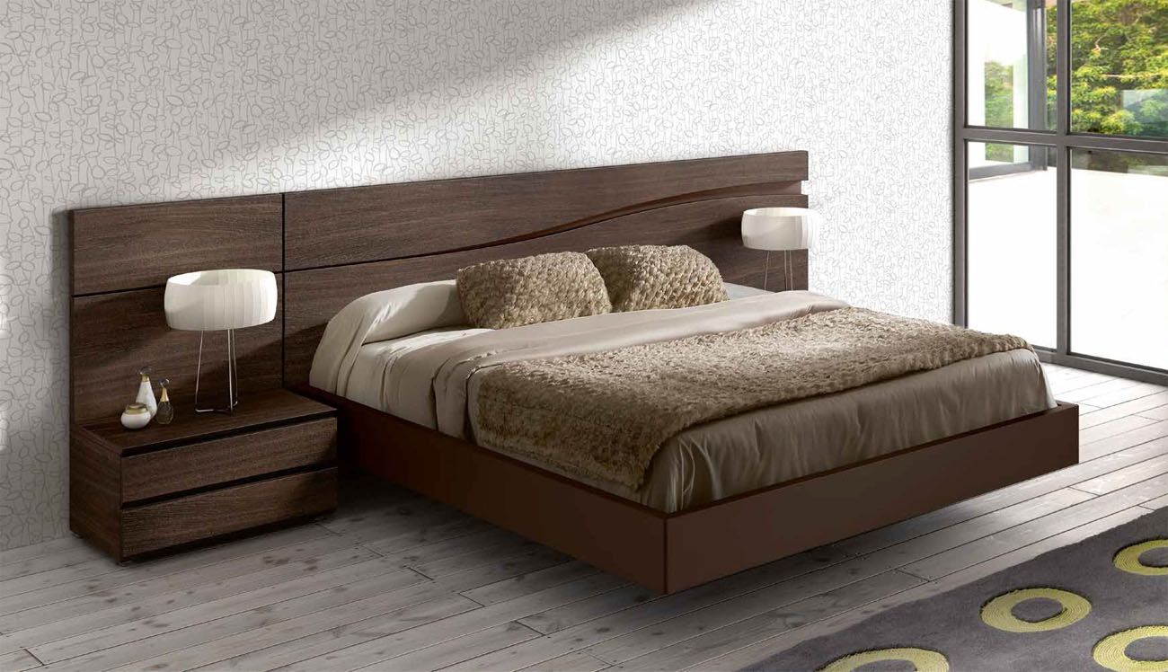 Designer Modern Lacquered Made In Spain Wood High End Platform Bed With Wave