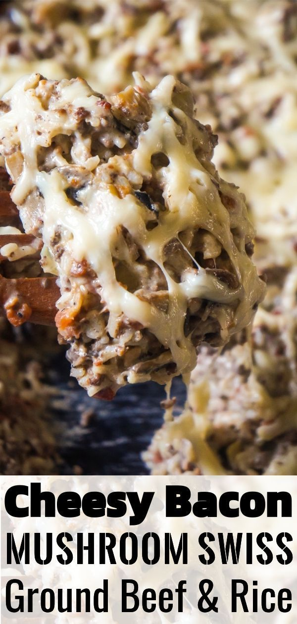 Bacon Mushroom Swiss Ground Beef and Rice is an easy stove top dinner recipe that can be on the tab