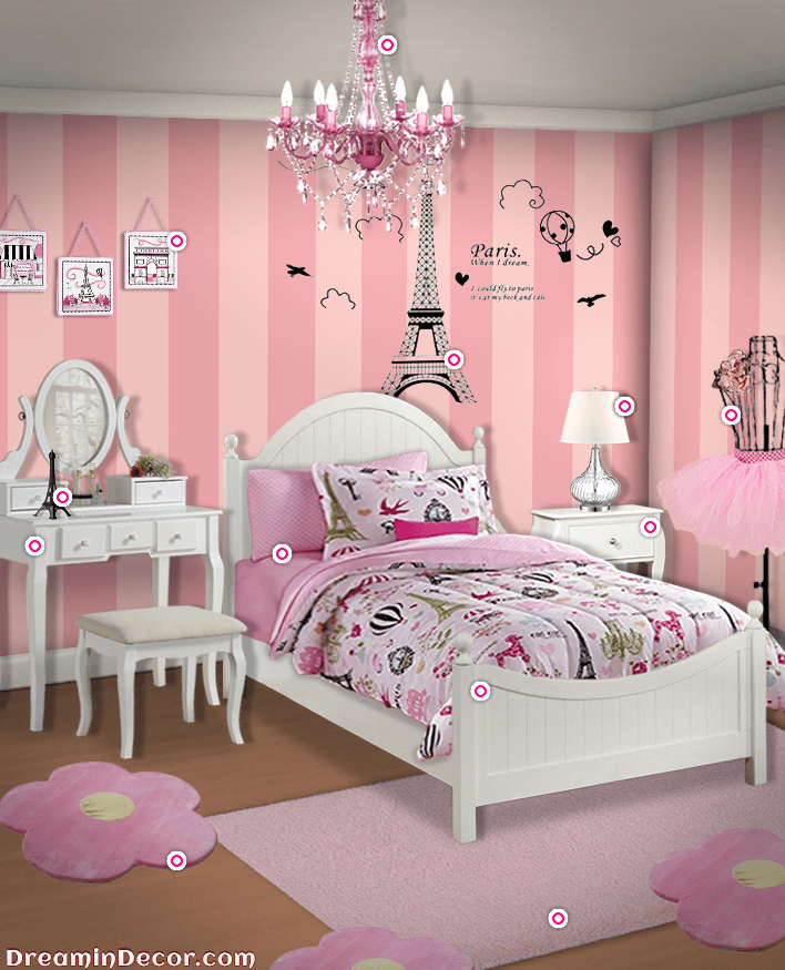 Get Inspired To Create A Trendy Bedroom For Little Girls With These Decorations And Furnishings Paris Decor Bedroom Paris Themed Bedroom Paris Room Decor