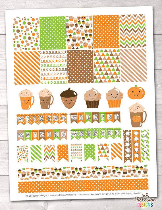 Diy printable planner stickers happy fall planner sticker set pumpkin spice coffee weekend banners flags to do checklists