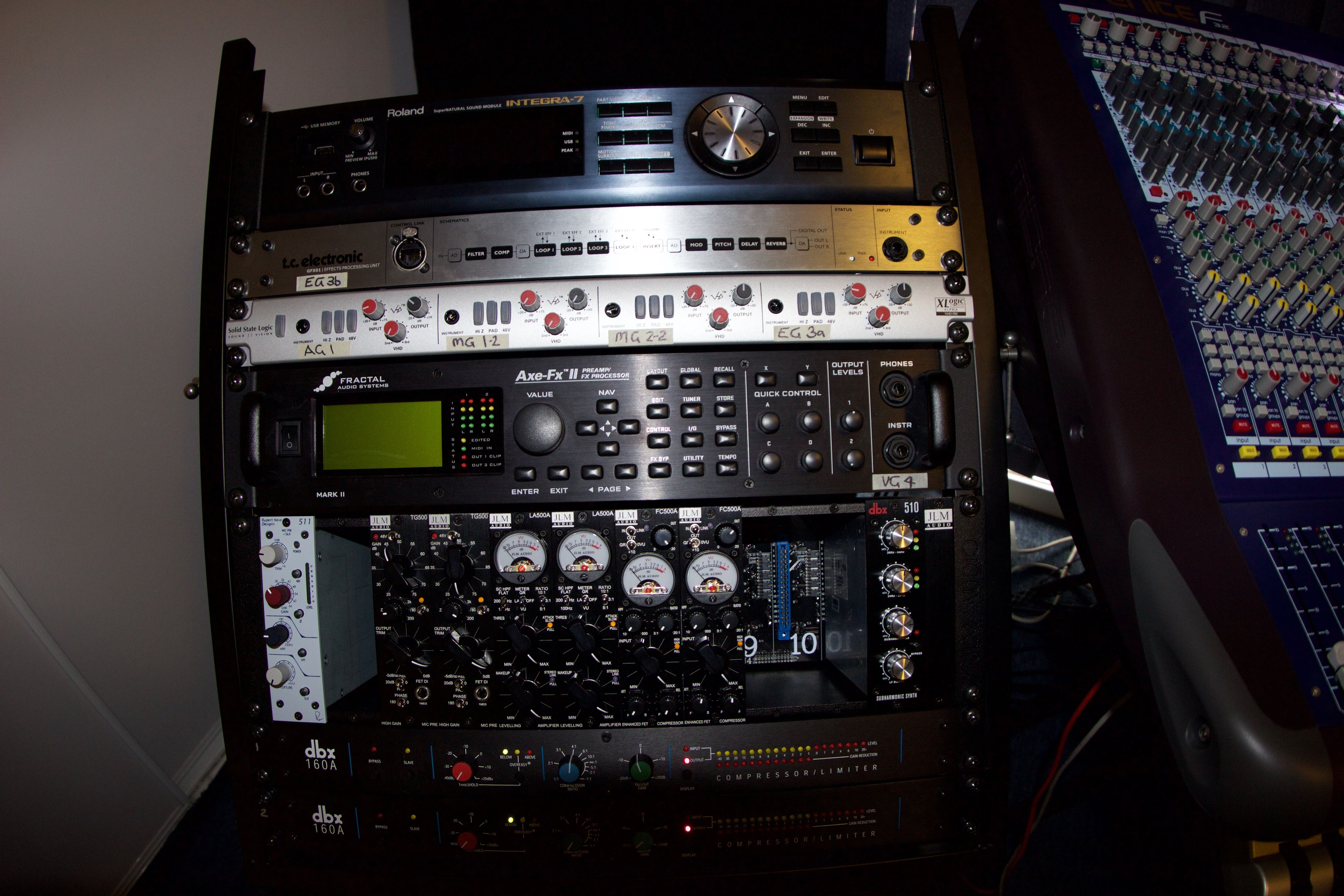 3b3006bb9c2 The top section of the hardware rack of AE Project Studio s external studio  rig 2016  click image to DLPs You-Tube Channel Audio Equipment