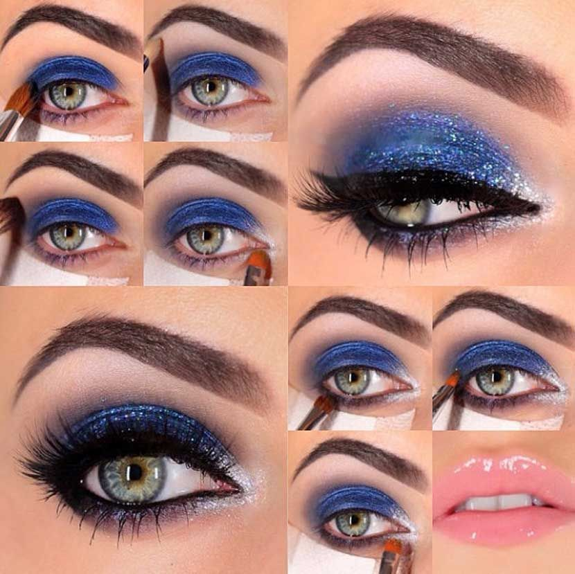Maquillaje para fiesta con vestido azul