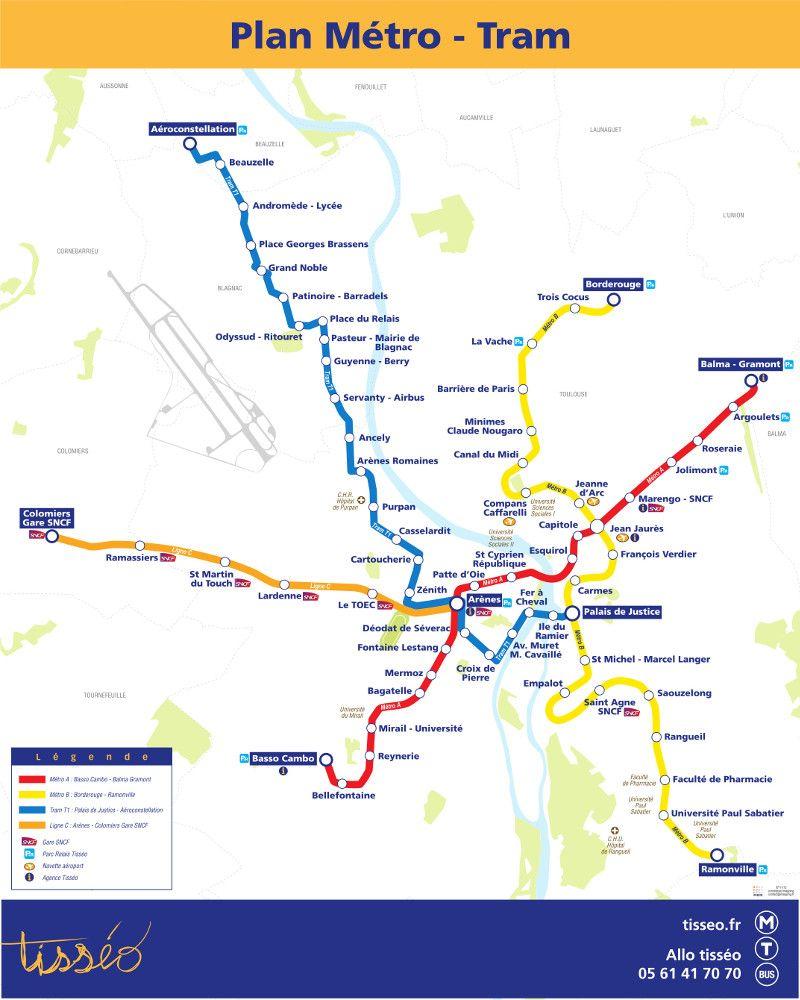 Toulouse Metro Metro Map Toulouse Toulouse France