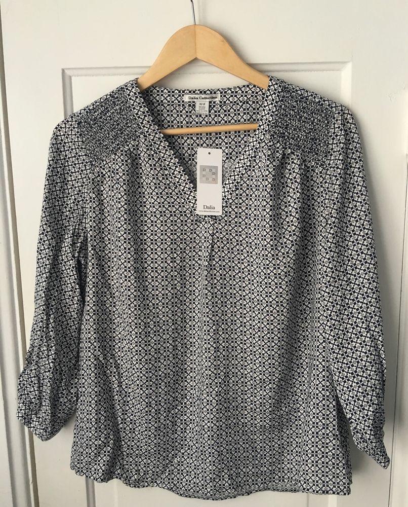 nwt dalia collection blouse rayon blue gray geometric print   - nwt dalia collection blouse rayon blue gray geometric print  sleeves szm new
