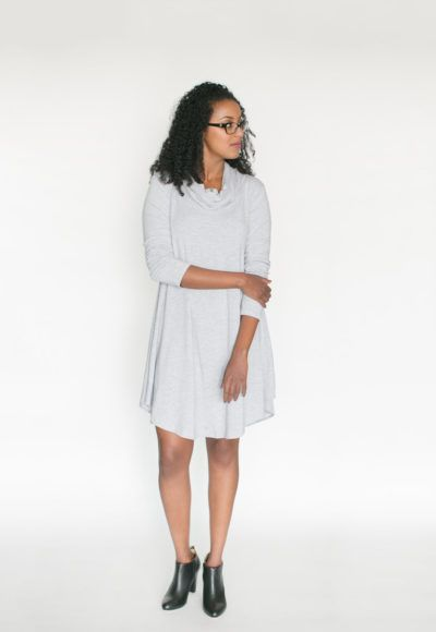 *pre-sale* Cowl Neck Dress – light grey (ships in 2 to 4 weeks)  $98.00    All the comfort and style of our swing dresses plus a lovely cowl neck! This brand new dress is going to be a hit for sure! We have changed the bottom hemline and made the front and back longer than the sides to create a nice look with tall boots or your favourite short booties (we love to wear ours with our Poppy Barley shoes).