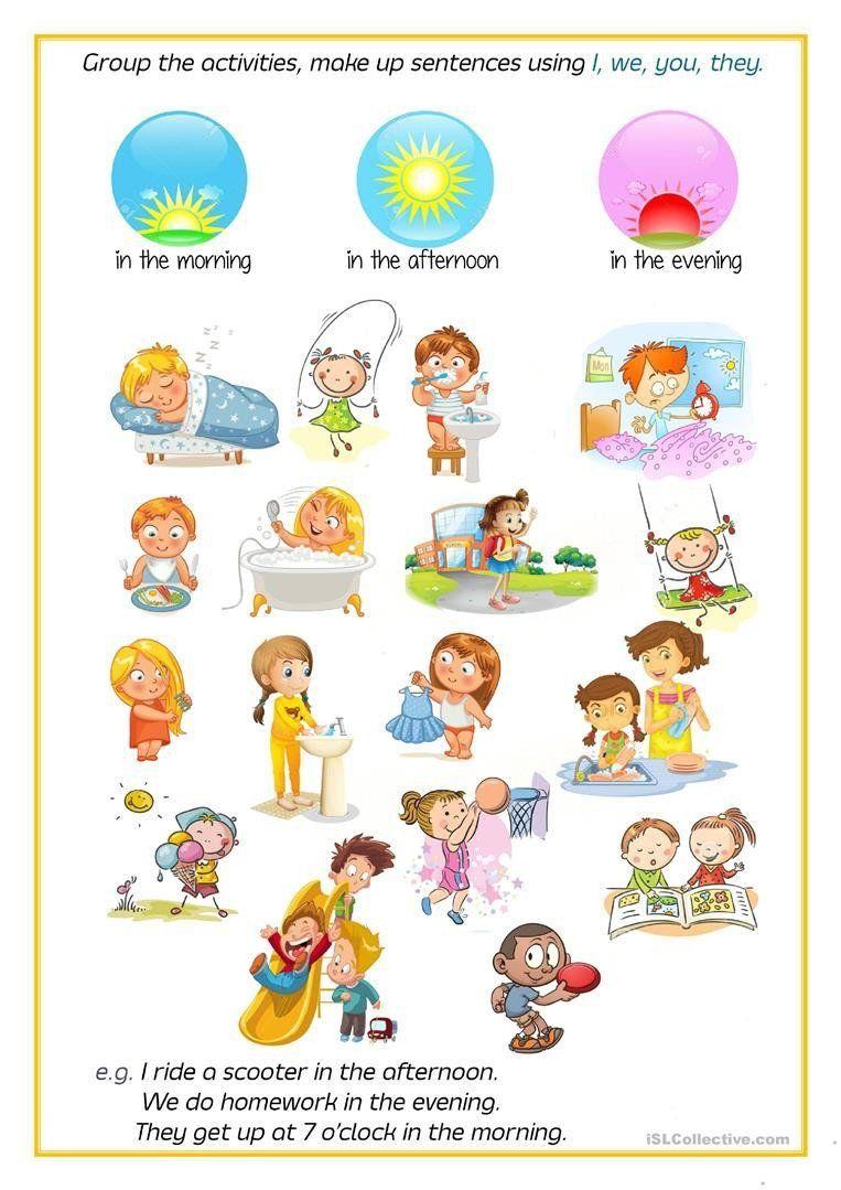 Morning Afternoon Evening Worksheet Kindergarten Free Time Activities Kindergarten Worksheets Daily Routine Activities [ 1079 x 763 Pixel ]