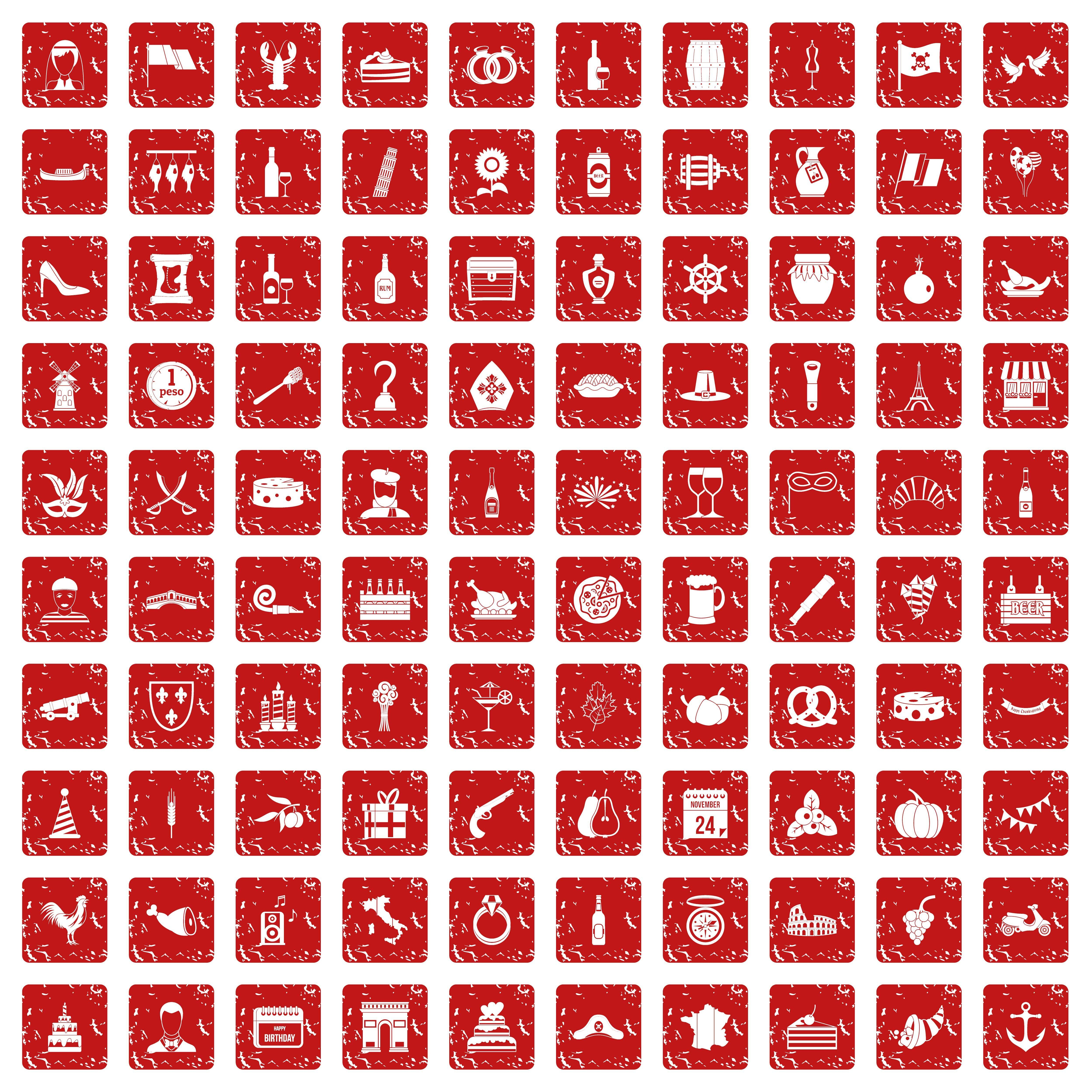 100 alcohol icons set grunge red By Ylivdesign