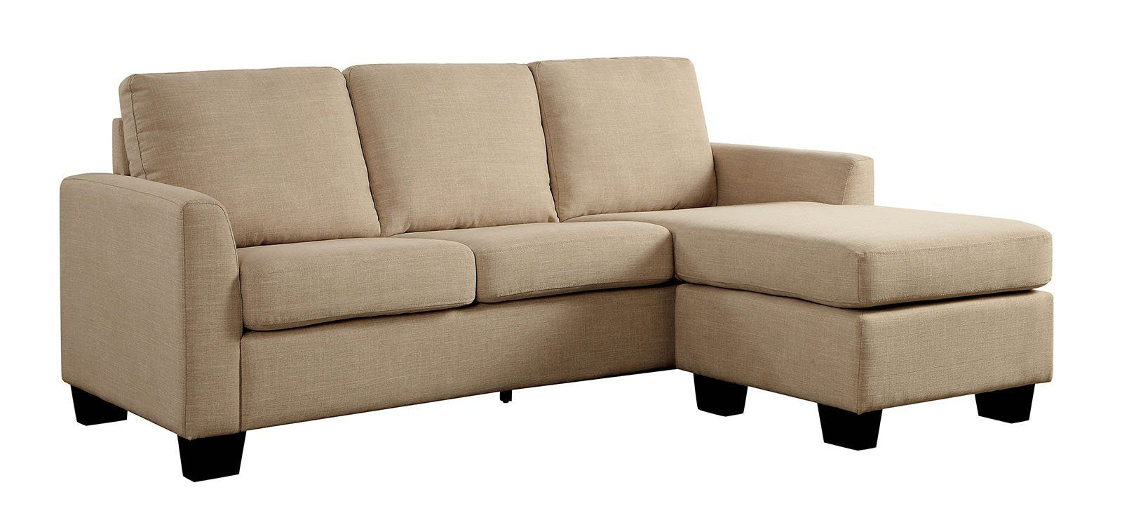 - Linen-Like Fabric Corner Sleeper Sofa With L-Shaped Design Beige