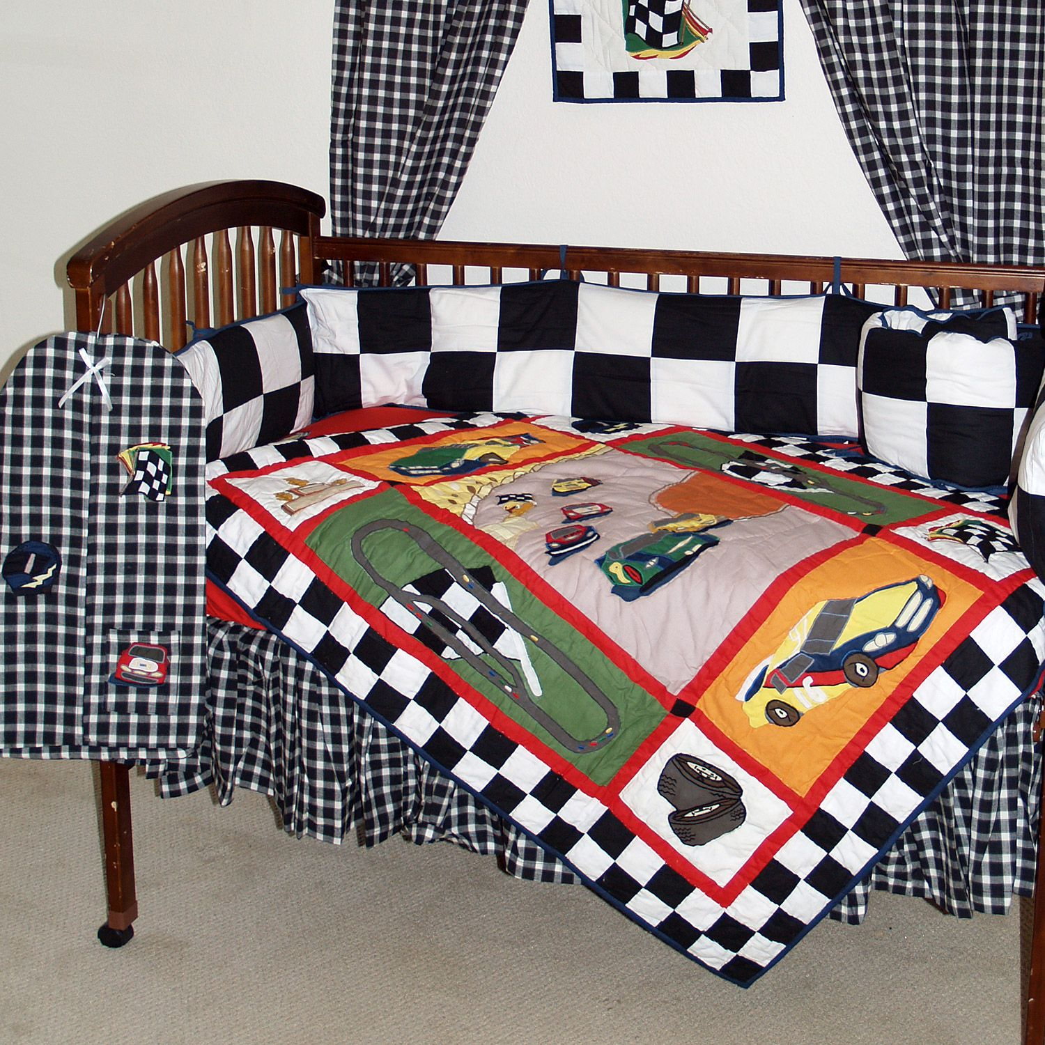 Racecar Black White And Red Race Car 6 Piece Crib Set