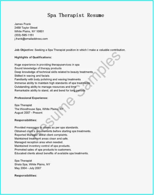 Spa Therapist Resume Objective Resumesdesign Resume Objective Resume Template Massage Therapist