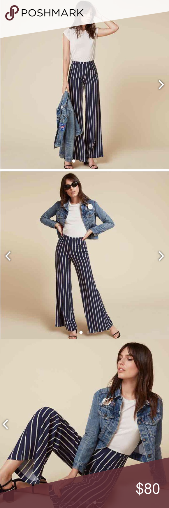 Nautical striped pant True to size. Wide leg. Looks great with a tshirt and sandals! Reformation Pants Wide Leg