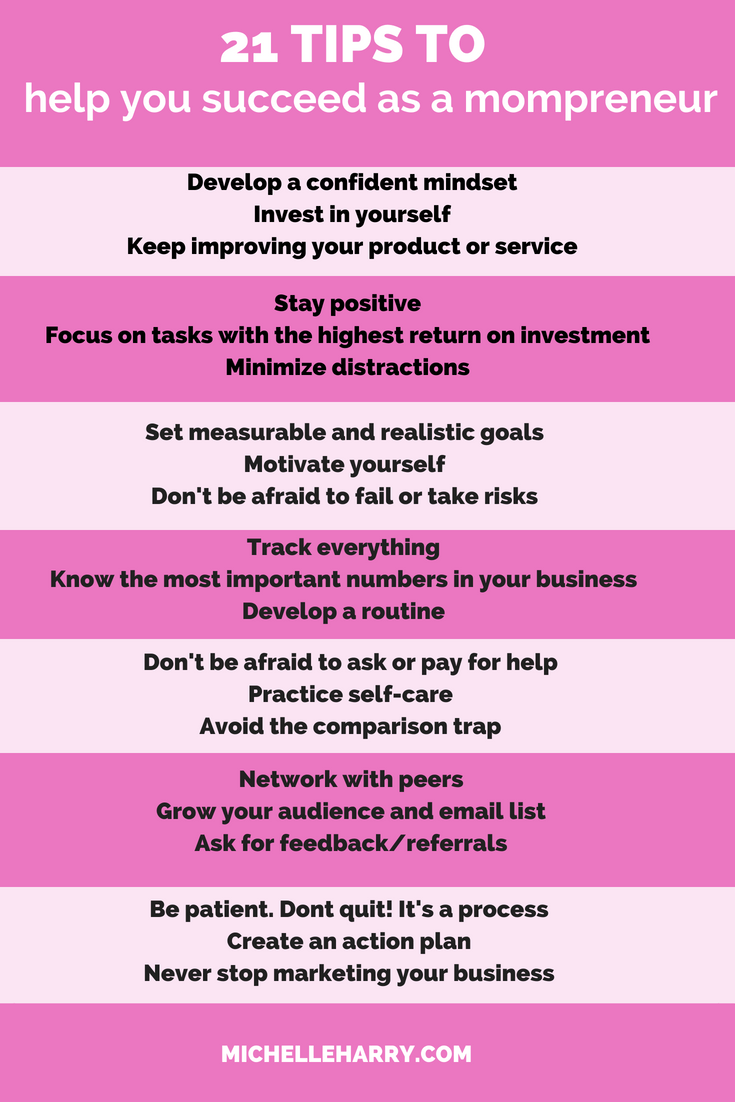 21 Tips To Help You Succeed As A Mompreneur Michelle Harry Mompreneur Business Tips Small Business Organization
