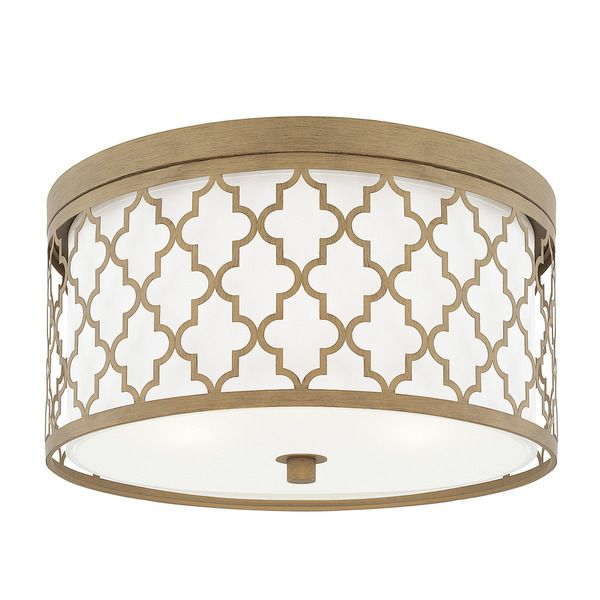 Capital lighting ellis collection 3 light brushed gold flush mount