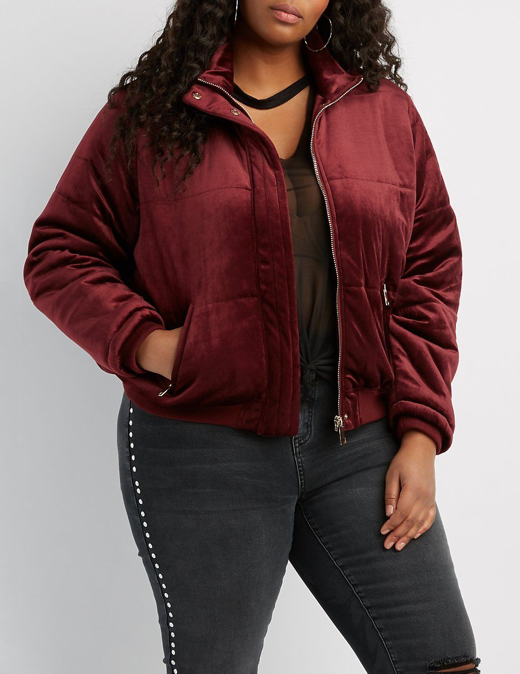 eeca0f0ac04 Plus Size Velvet Quilted Puffer Jacket