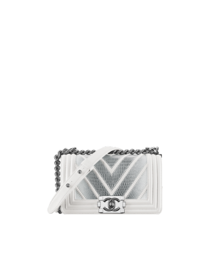 5a6671dc7980 Chanel White/Silver Chevron Lizard Boy Chanel Exotic Small Flap Bag ...