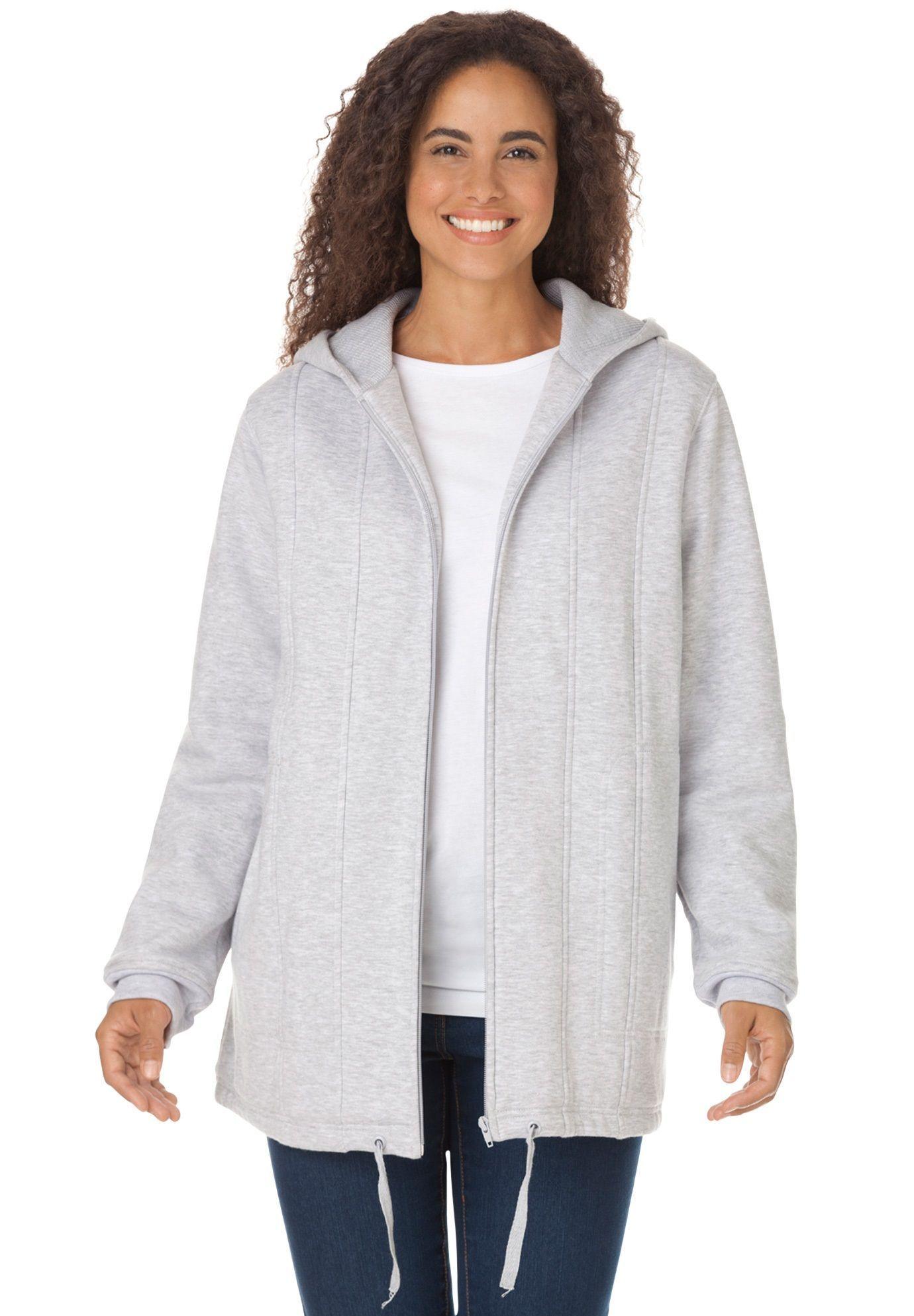 75f6caee7ce Drawstring-Hem Hooded Fleece Jacket - Women s Plus Size Clothing ...