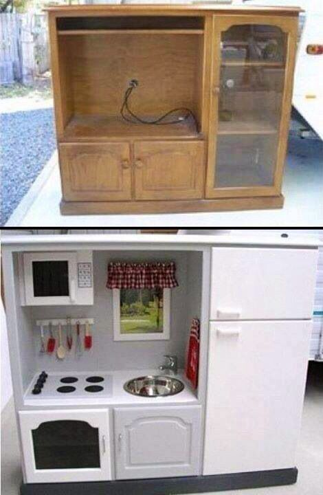 So cute - an old entertainment cabinet recycled into a child's play kitchen