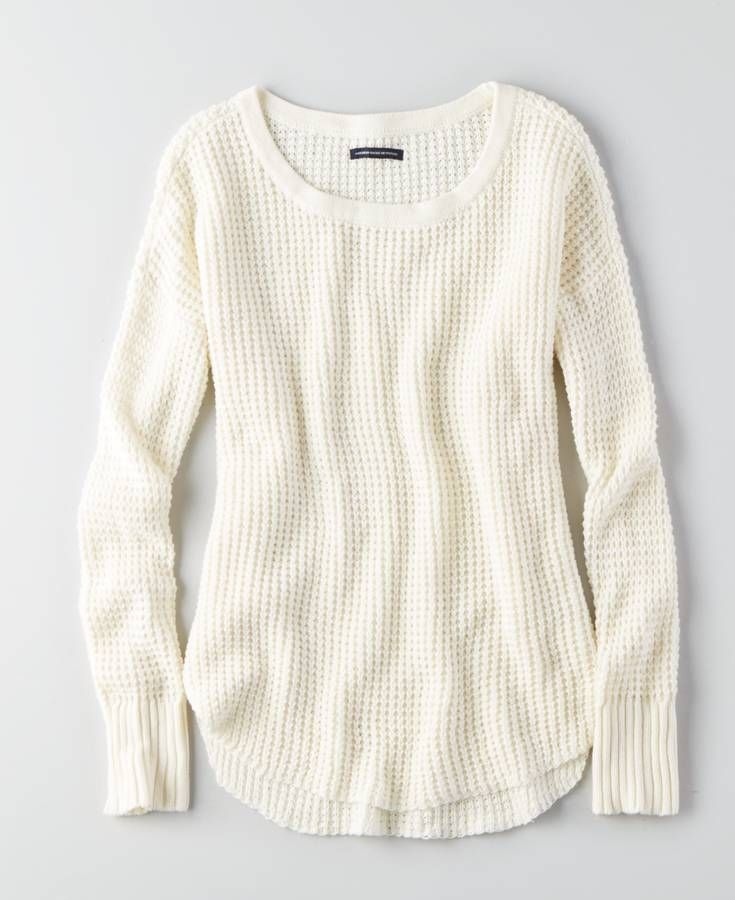 AEO Textured Thermal Sweater, Women's, Ivory | *Clothing ...