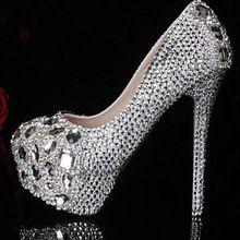 73b8b254b Prata 2015 festa de formatura de baile sapatos de salto alto cristais  strass sapatos de noiva sapatos de senhora diamante para festa de casamento(China  ...
