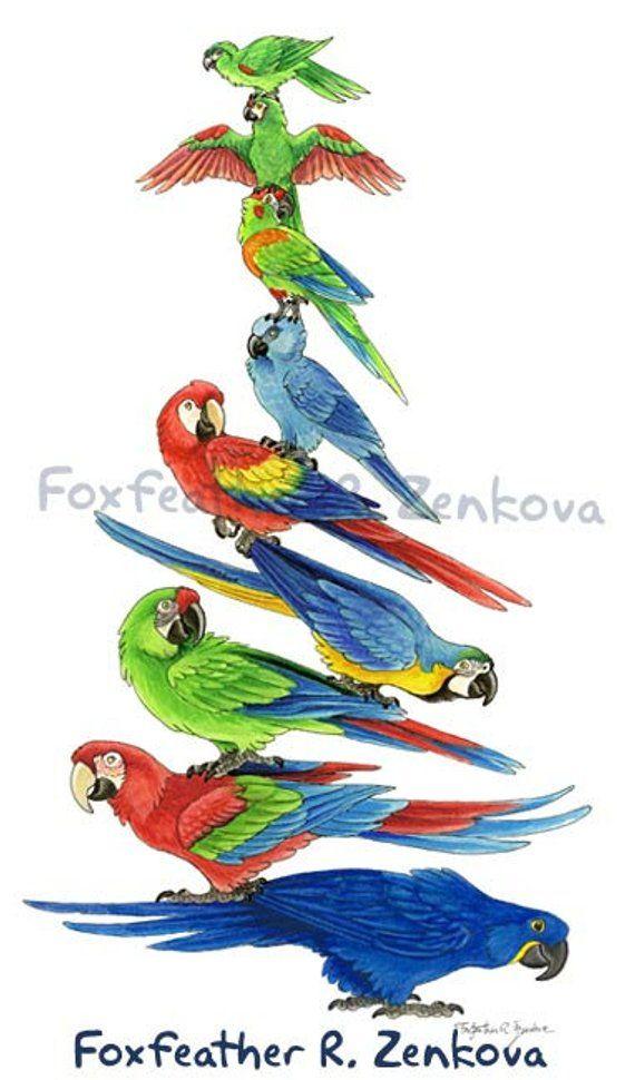 weit verbreitet große Vielfalt Modelle größte Auswahl an Macaw Stack Painting Print - Wall art, bird stack, hyacinth ...