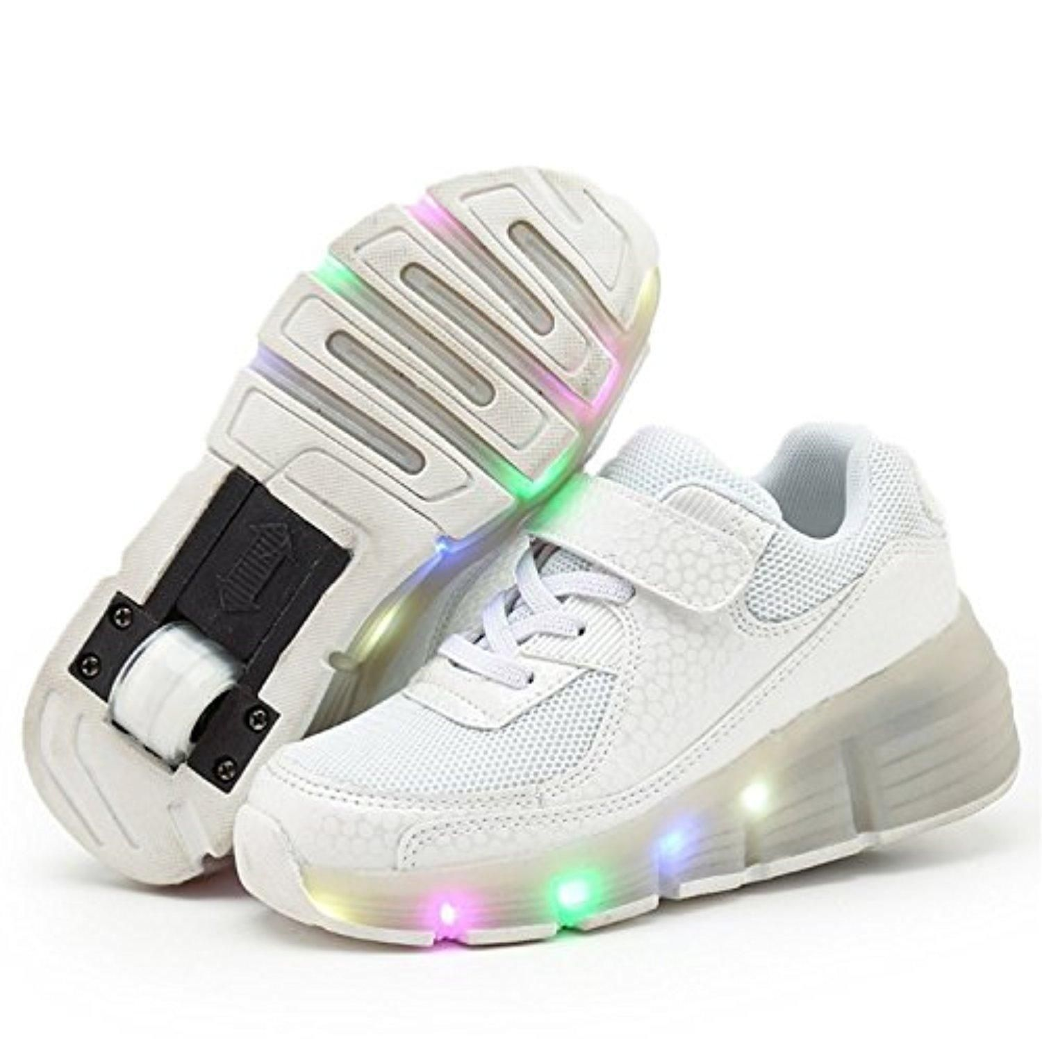 Meihualu Boys Girls Children Heelys Roller Shoes Glowing Flashing Sneakers  Whitebig Kid 55mFoot Length 235mm Excellent Design