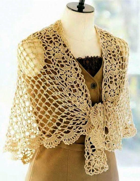 Patrón gratis de un elegante y precioso chal a crochet. Hoy vemos ...