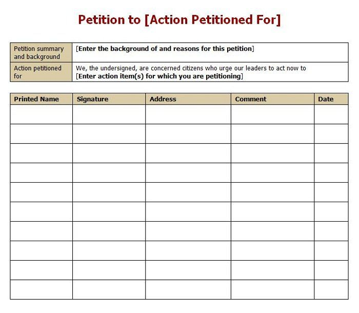 Petition Template - How you promote your petition is going to have - petition sign up sheet template