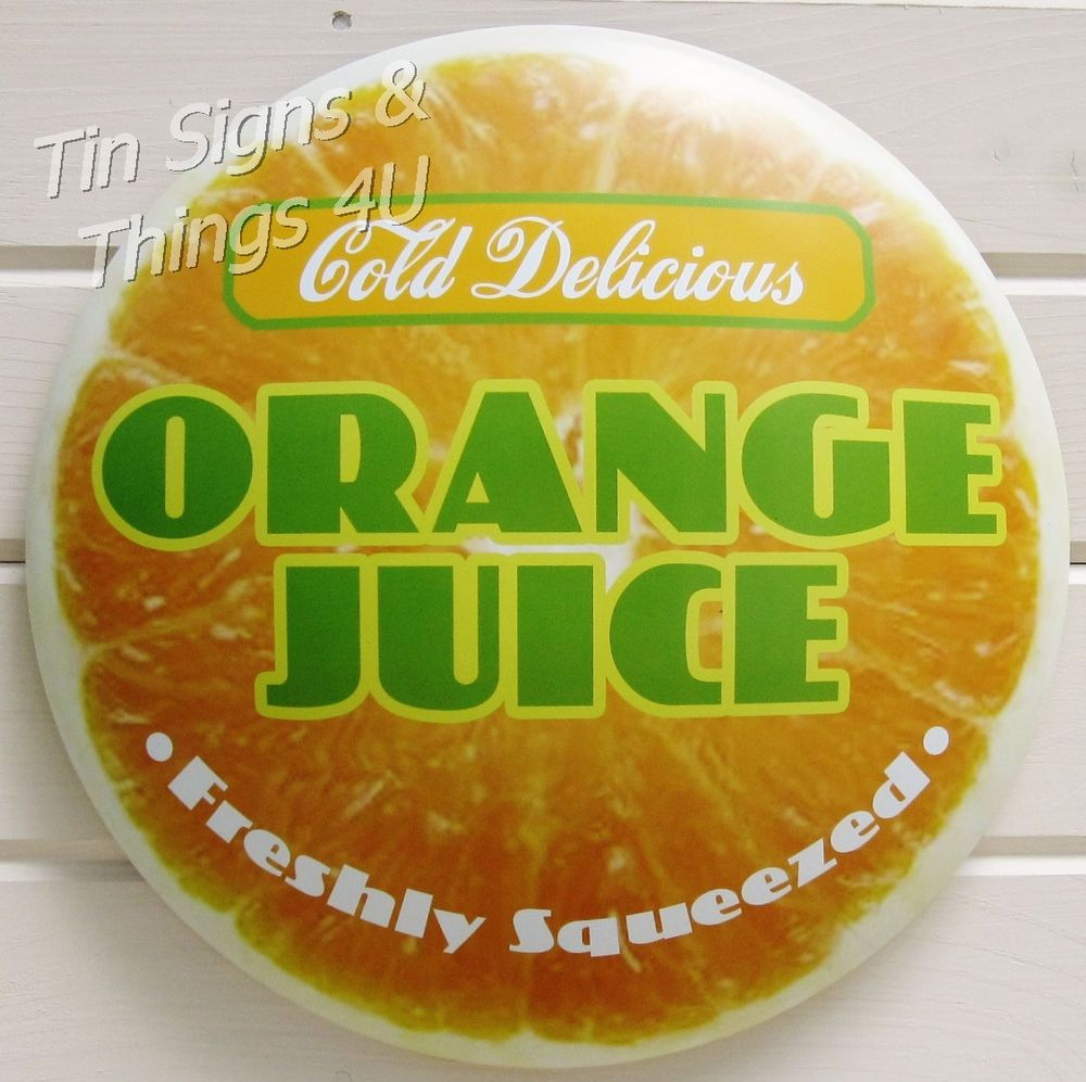 Orange Juice TIN SIGN citrus fruit kitchen diner soda bar metal wall ...