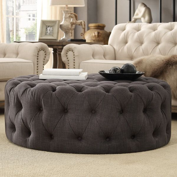 bourges round tufted cocktail ottoman | tufted ottoman, ottomans