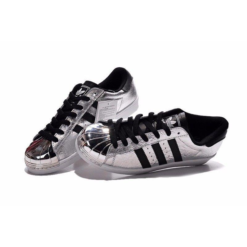 adidas superstar black silver