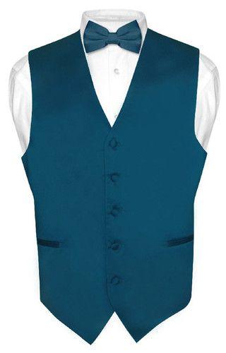 Men's BLUE SAPPHIRE Dress Vest BOWTie Set for Suit or Tuxedo