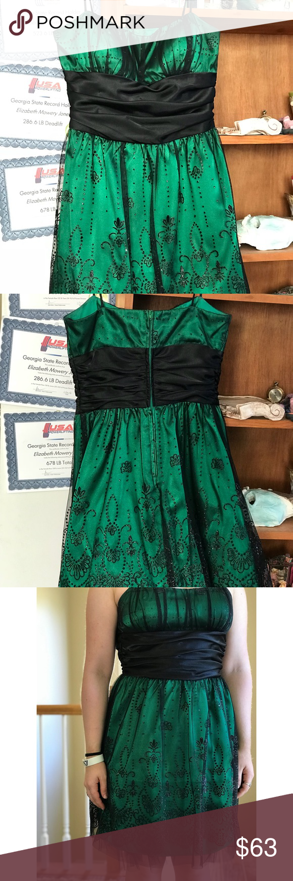 Green dress with lace overlay  Formal Dress  School dances Green silk and Masquerade dresses