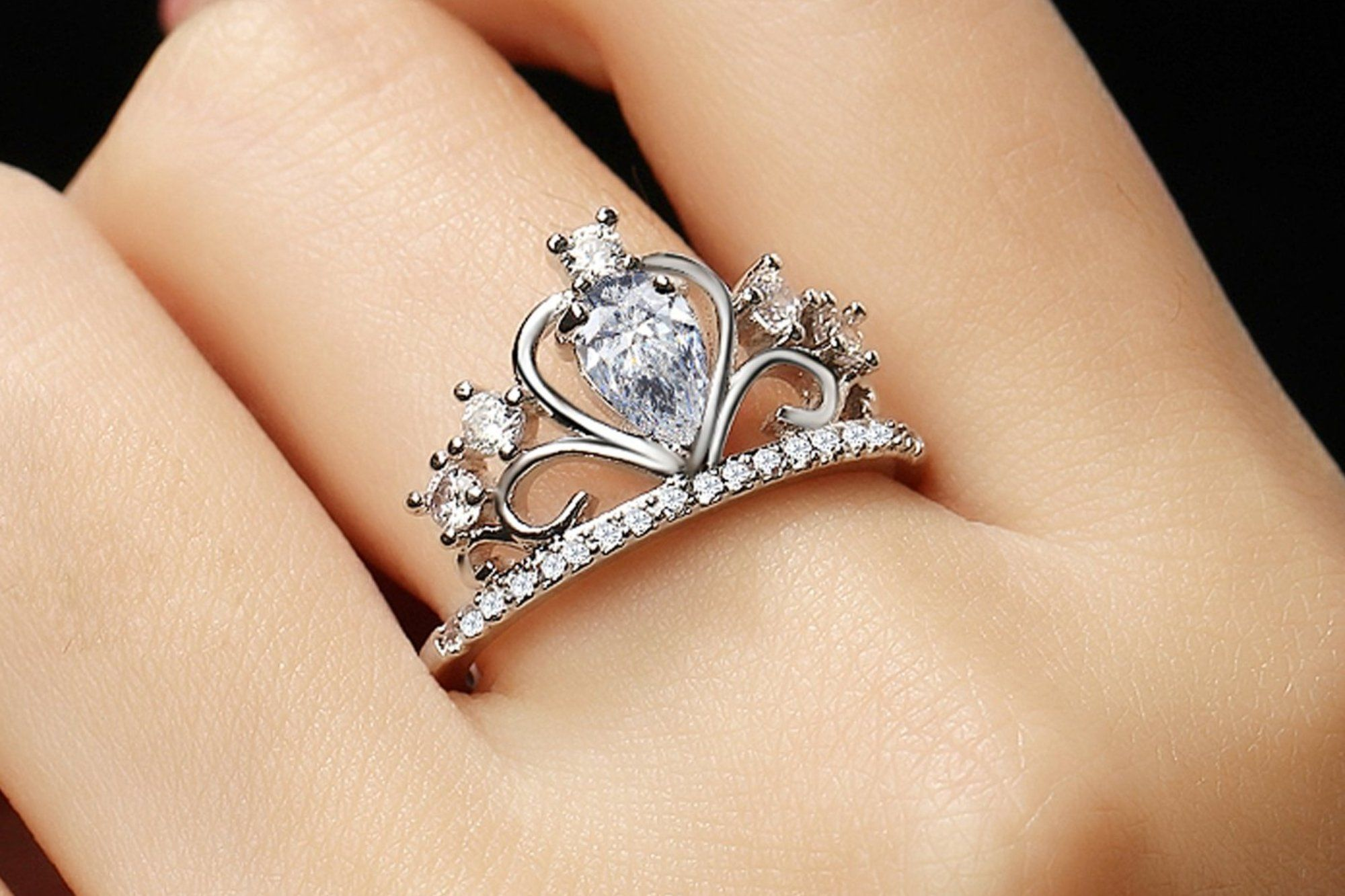 Anastasia Crystal Princess Crown Promise Ring in Gold or Silver